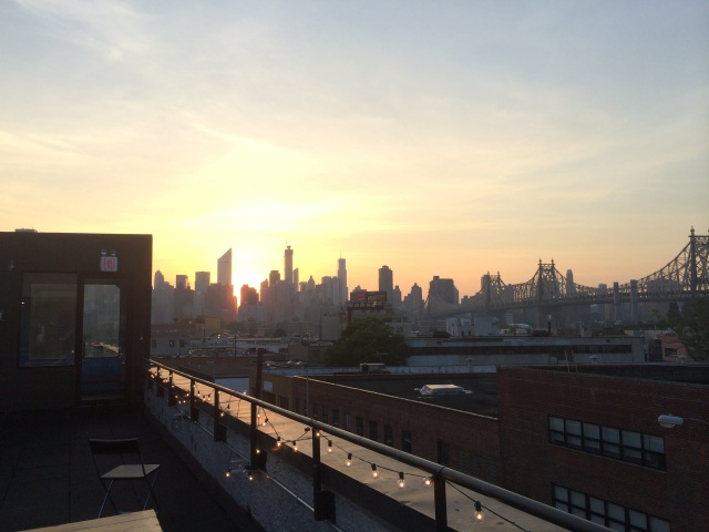 Manhattan Skyline from hostel rooftop terrace