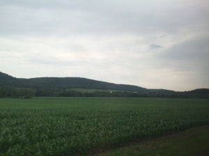 Pennsylvania farmland aboard the Amtrak Pennsylvanian line.