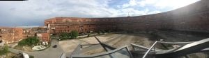 In the Documentation Center, looking out into old Nazi Party rally grounds in Nuremberg, Germany